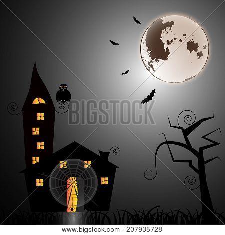 Mystery house at halloween night stock vector