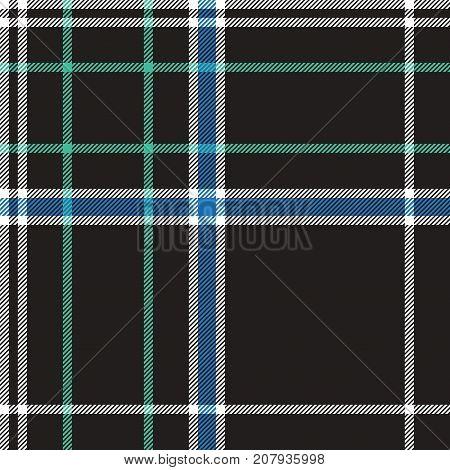 Black check plaid fabric texture seamless pattern. Flat design. Vector illustration.
