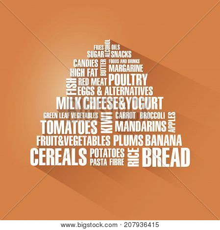 Food pyramid with shadow on orange background. Vector illustration.