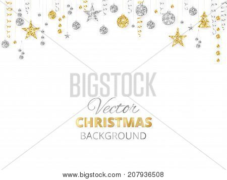 holiday background with sparkling christmas glitter ornaments gold and silver fiesta border garland with