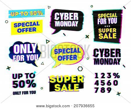 Set design template for cyber monday offer. Sign for web banner and promotion with bubble and geometric frame in glitch style. Computer style element for cyber sale event.