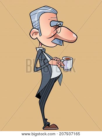 cartoon funny long nosed man in a tailcoat with a cup in hand