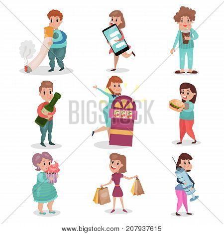 Popular bad habits and addictions of modern society set cartoon vector Illustrations on a white background