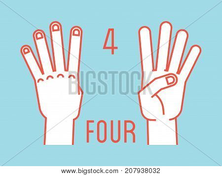 Count on fingers. Number four. Gesture. Stylized hands with index, middle, ring and little fingers up. Vector illustration with text on blue background. Orange lines, white silhouette. Icons. Logo. 4.