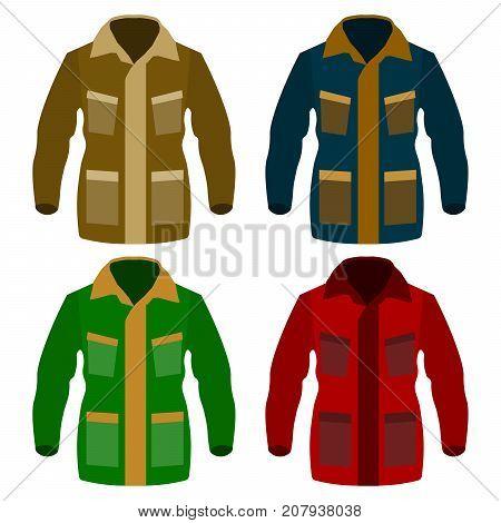 Autumn fleece jacket set isolated on white background. Winter down-padded coat. Flat design Vector Illustration