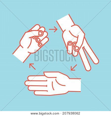 Rock, Scissors, Paper. Gestures. Stylized hands in form of objects for hand game. Vector illustration on blue background. Orange outline and white silhouette. Icon. Rules.