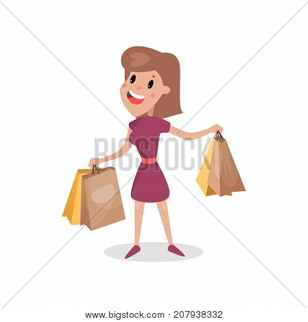 Happy shopaholic girl with paper shopping bags, harmful habit and addiction cartoon vector Illustration on a white background