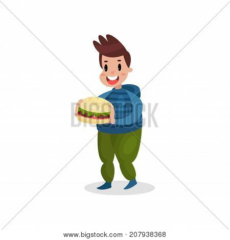 Young fat man holding giant burger, harmful habit and addiction cartoon vector Illustration on a white background