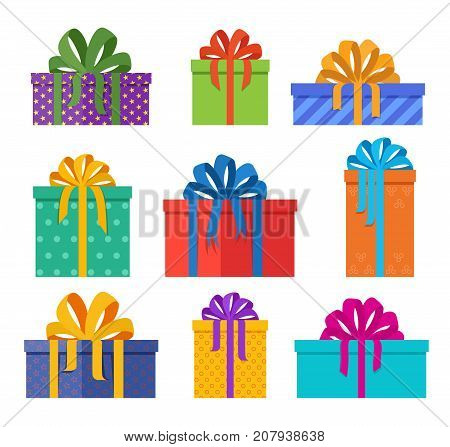 Set of christmas gifts boxes in holiday packages with colored paper and bowknots. Christmas holiday presents designed in flat style. Vector illustration.