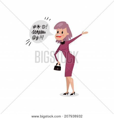 Angry young woman swearing, harmful habit and addiction cartoon vector Illustration on a white background