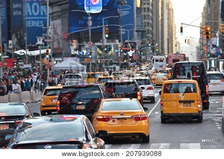 NEW YORK CITY - AUG. 29 : Traffic on the Times Square in Manhattan on August 29 2017 in New York City NY. Times Square is a major tourist destination and entertainment center.