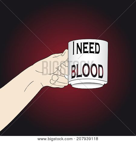 Woman Hand with Need Blood cup. Halloween vector illustration