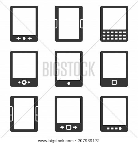 Electronic Book Reader Icons Set. Vector illustration