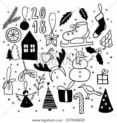 Christmas doodles. Hand drawn vector icons. Xmas and New Year scrapbooking sticker. Snowman, house, ice skate, deer horns, bird, angel, leaf, candy, cone, mistetoe gift tag and Xmas tree decoration