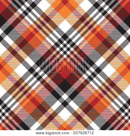 Orange plaid seamless fabric texture. Vector illustration.