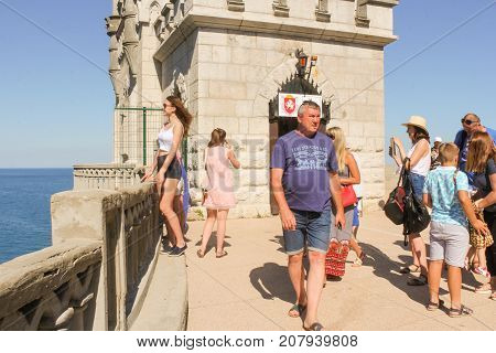 Yalta, Crimea - 11 July, Visitors at the castle, 11 July, 2017. Small Castle Lastochkino Nest and its surroundings.