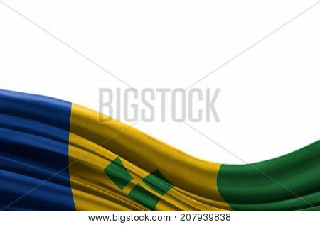 Grunge colorful flag Saint Vincent and the Grenadines with copyspace for your text or images,isolated on white background. Close up, fluttering downwind.