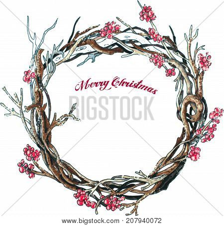 Christmas branches wreath on white. Vector Hand drawn sketch