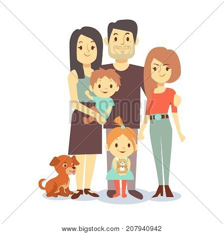Flat family with pets isolated on white background. Family people woman and man, character dog and mother father daughter son. Vector illustration