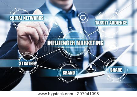 Influencer Marketing Plan Business Network Social Media Strategy Concept.