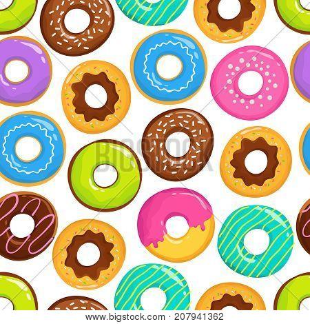 Yummy glazed cakes chocolate donuts vector seamless pattern. Donut yummy pattern, sweet dessert illustration
