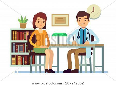 Medical consultation with doctor and young woman patient vector medicine flat concept. Patient woman and young doctor character illustration