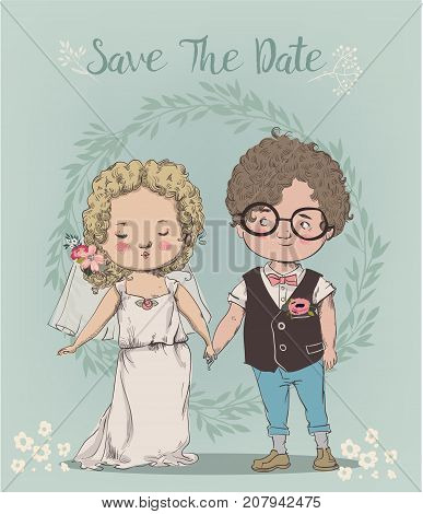 cute little wedding couple - bride and groom