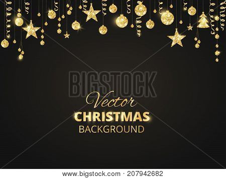 Holiday background with sparkling Christmas glitter ornaments. Golden fiesta border on black. Festive garland with hanging balls and ribbons. Great for New year party posters, cards, headers.