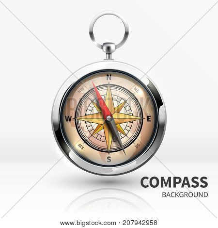 Old realistic vector navigation compass isolated. Illustration of equipment for travel orientation
