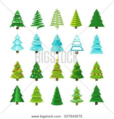 Flat christmas winter trees with festive xmas decoration vector collection. Winter christmas tree set illustration