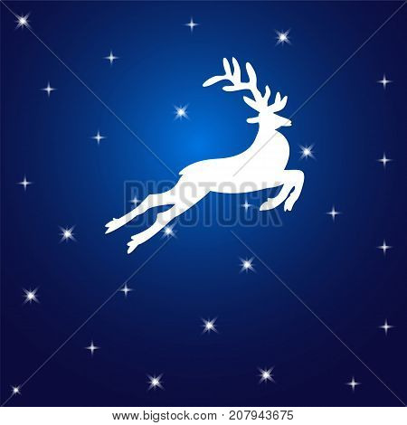 White reindeer in the starry sky. Christmas background.