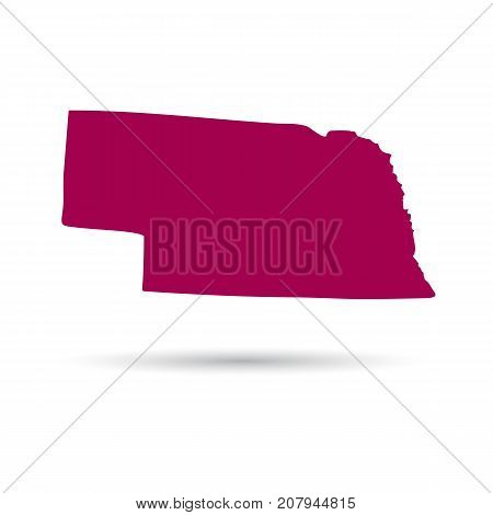 Map of the U.S. state of Nebraska on a white background