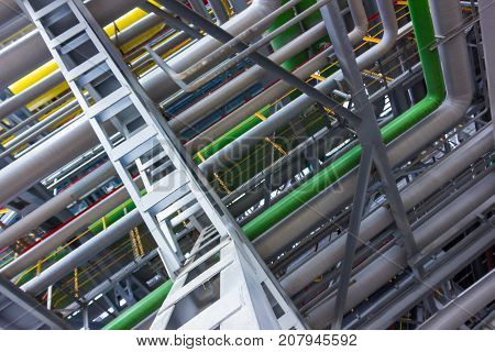 The different colored pipes in the installation of a petrochemical plant
