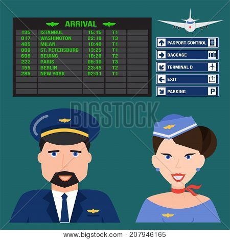 Pilot and stewardess in uniform airport character flight travel people plane attendant professional person vector illustration. Airplane business job transportation captain worker.