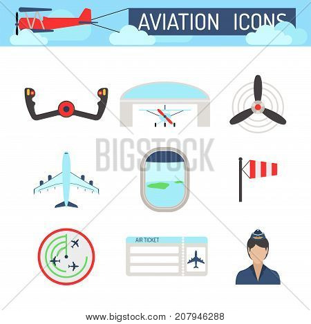 Aviation icons vector set airline graphic illustration station stewardess concept airport symbols departure terminal plane. Transport business flight tourism vector.