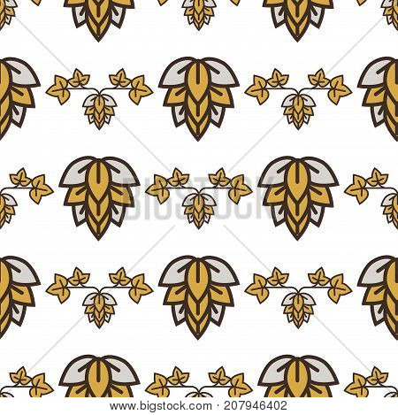 Hop sketch vector visual graphic ideal for beer stout lager bitter labels and packaging. Botany natural ink agriculture seamless pattern.
