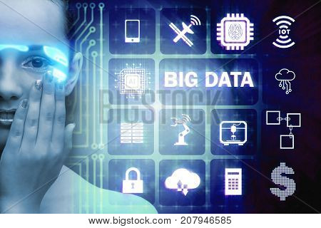 Big data modern computing concept with woman