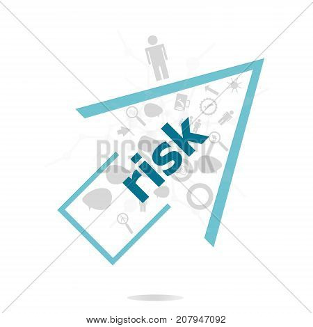 Text Risk. Finance Concept . Data Protection And Secure Elements Inforgaphic Set