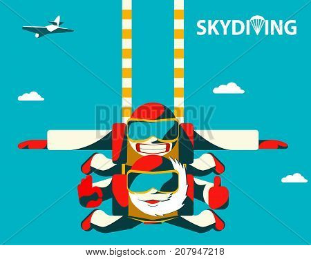 Tandem skydive couple jumping out of the plane. Elderly senior jump with her towheaded tandem instructor. Flat vector illustration.