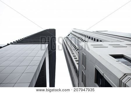Busines center high buildings in Singapore with sky and isolated
