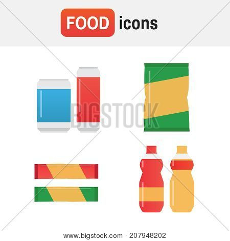 Snack Chips Bag Vector. Fast Food Snacks And Drinks Flat Vector Icons. Fastfood Icons