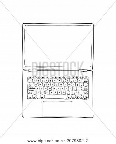 top view laptop hand drawn cute vector line art illustration