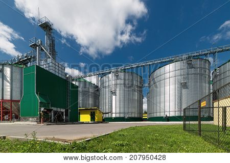 Large steel silos for storing barley and wheat. Modern storage for grain and other crops.