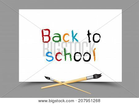 Drawing back to school on white paper. Lesson paintbrush draw. Symbol of education