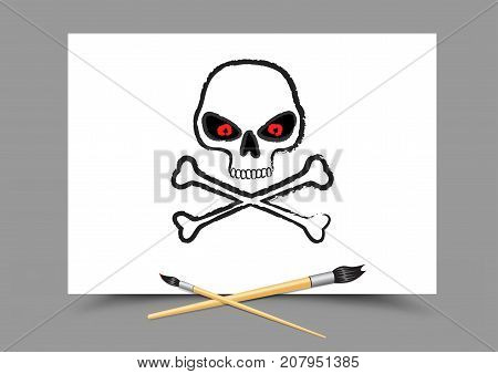 Drawing skull with red eyes on white paper. Educatoin paintbrush draw danger. Symbol of pirates. Toxic poison sign logo. Lesson study learn teach the hazard dangerous