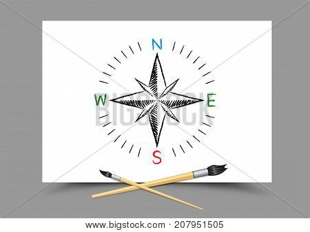 Paintbrush drawing world map directions on white paper on gray background. Geography and ecology lesson. Theme of education