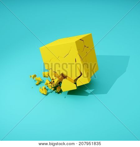 Cube breaks down on surface. 3D illustration.