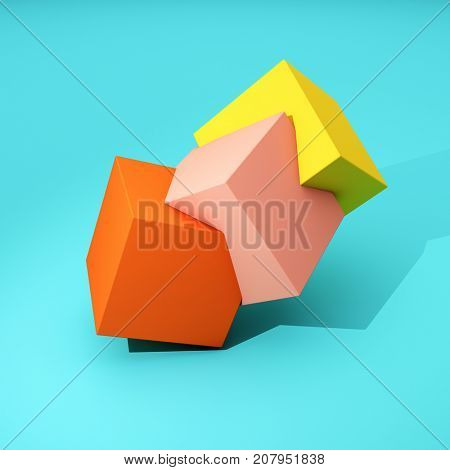 Abstract geometry of colored cubes on blue background. 3D illustration.