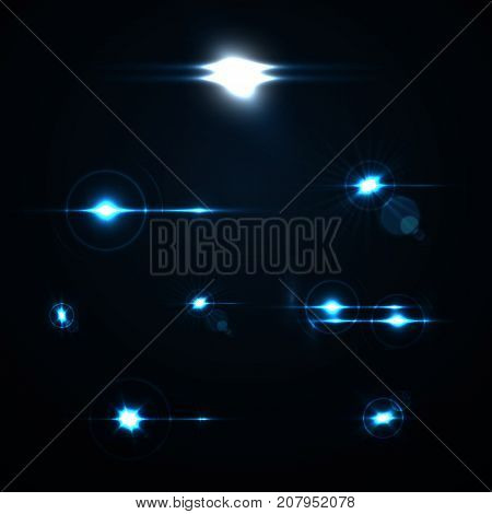 Realistic Lens Flare transparent Elements Collection. Light Effect Design. Vector illustration