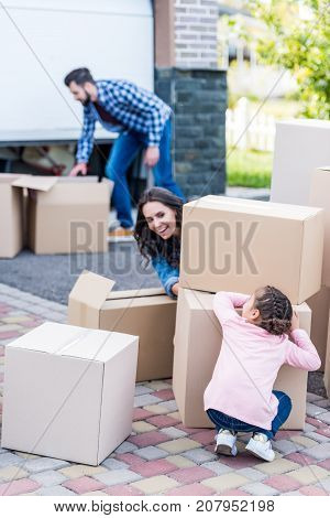 Mother And Daughter Playing Hide-and-seek